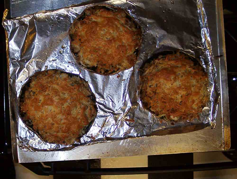 stuffed portabella mushrooms  perfectly baked and broiled